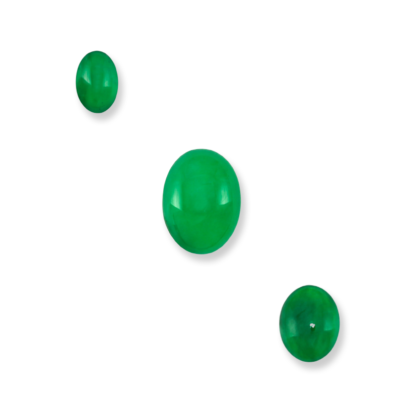 Fine Natural Green Jade Loose Oval Cabochons