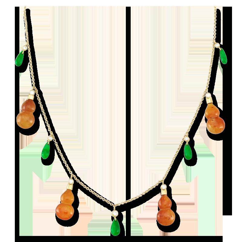 Natural Red Jade Gourds & Green Jade Tear Drop Necklace from Mason Kay Jade