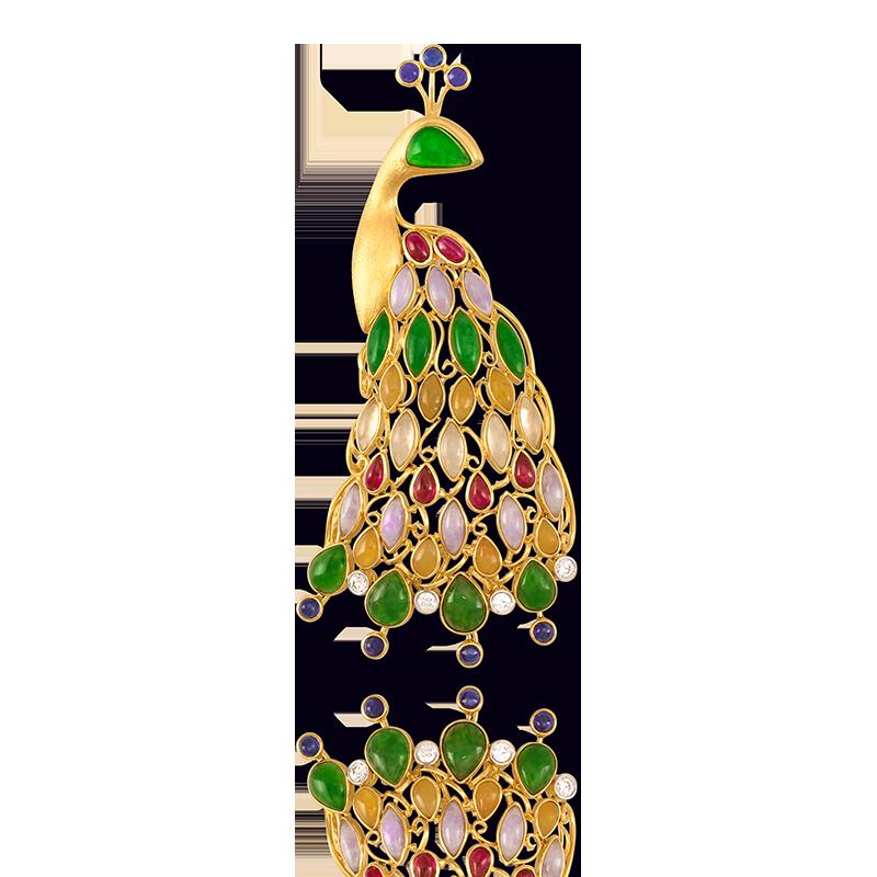 Jade & Gemstone Peacock Pin Pendant