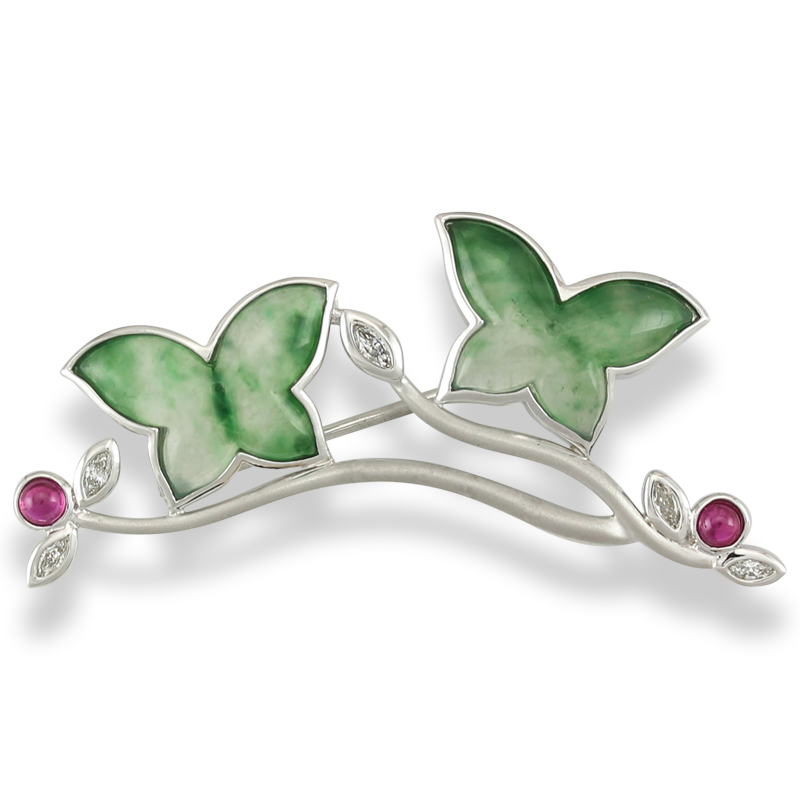 Translucent Green Jade Butterfly Pin Featured in June Issue of Hong Kong Jewellery Magazine