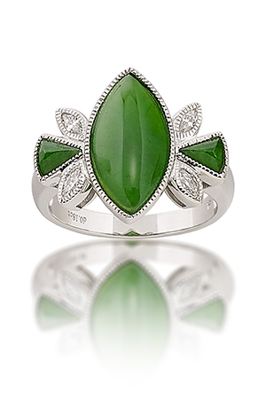 Navette or Marquis Shaped Green Jade Ring Featured in JCK Style Blog Post, Nov. 2016